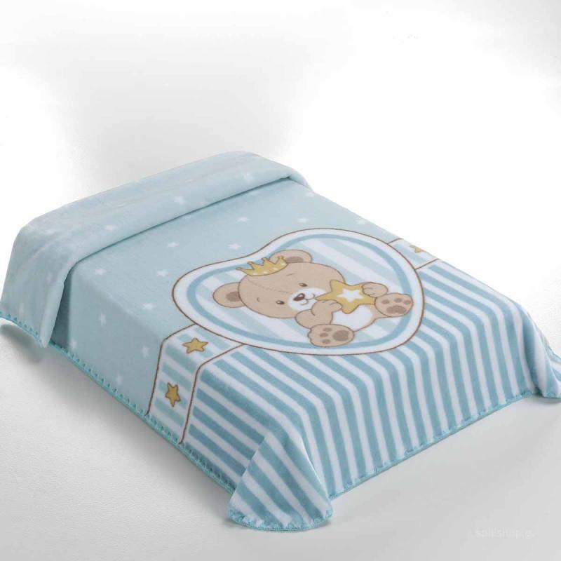 Κουβέρτα Βελουτέ Κούνιας Belpla 655 Azul