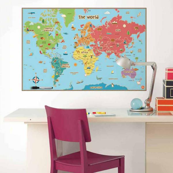 Παιδικό Αυτοκόλλητο Τοίχου WallPops Παγκόσμιος Χάρτης WΡ0624