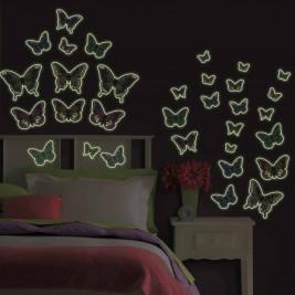 Παιδικά Φωσφοριζέ Αυτοκόλλητα Τοίχου WallPops Πεταλούδες WΡ-ΜS01