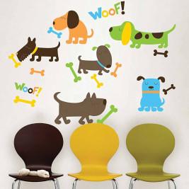 Παιδικά Αυτοκόλλητα Τοίχου WallPops Σκυλάκια WΡ0614