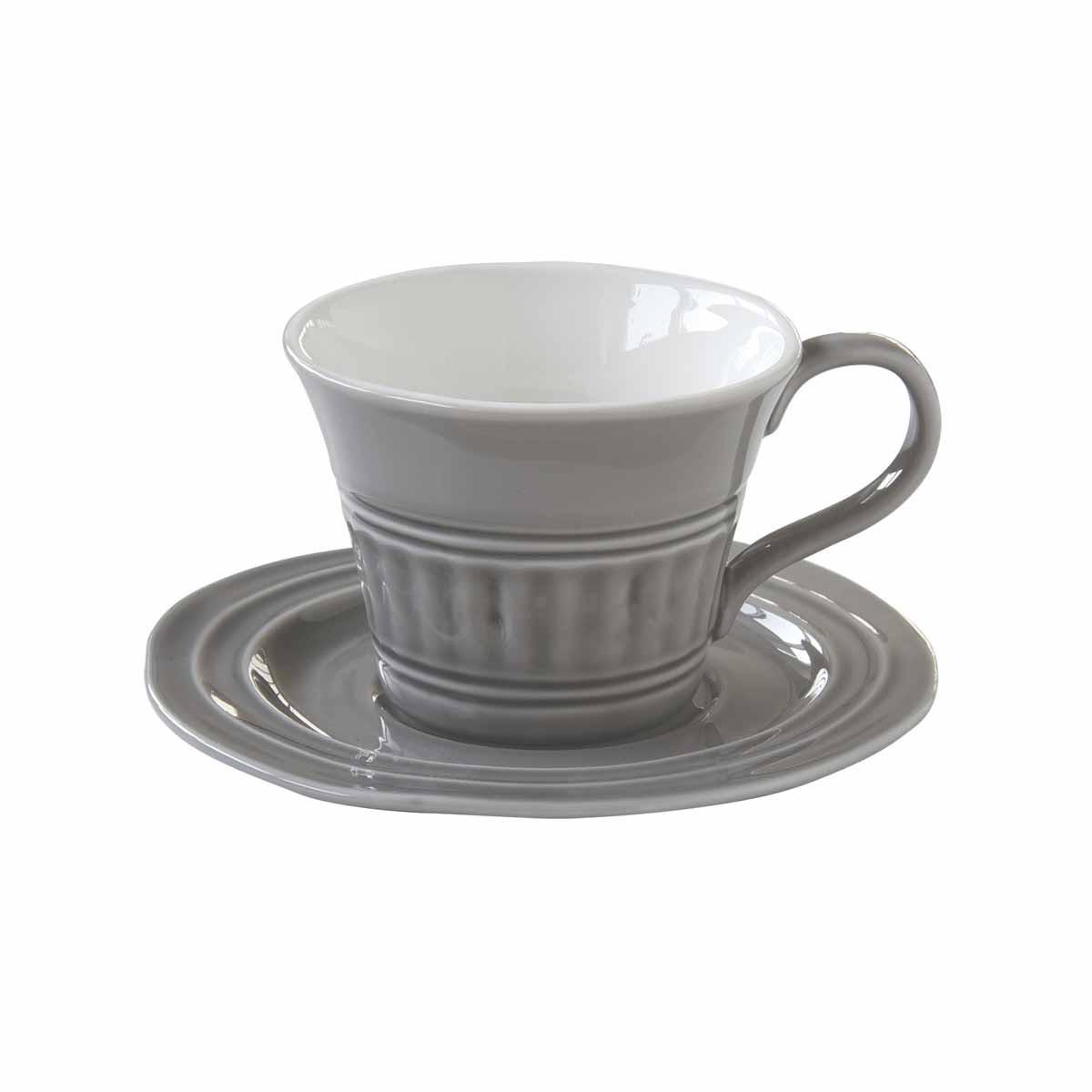 Φλυτζάνι Καφέ + Πιατάκι Marva Abitare D.Grey 1867ΑΒDG