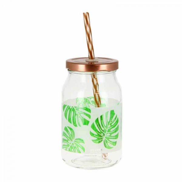 Ποτήρι Με Καλαμάκι Marva Paradise Leaf Μ77870