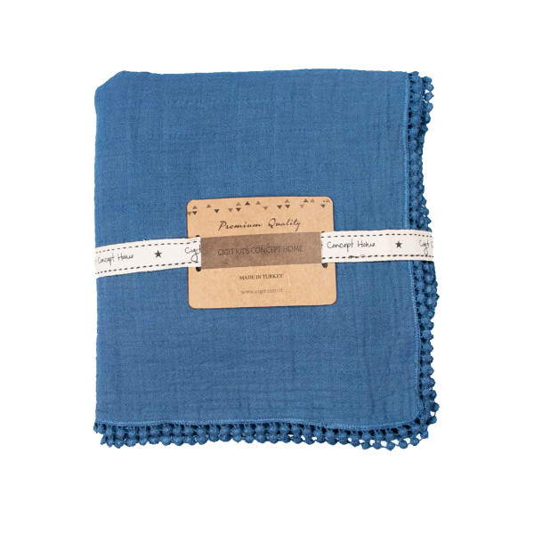 Κουβέρτα Μουσελίνα Αγκαλιάς Cigit Pon Pon Space Blue