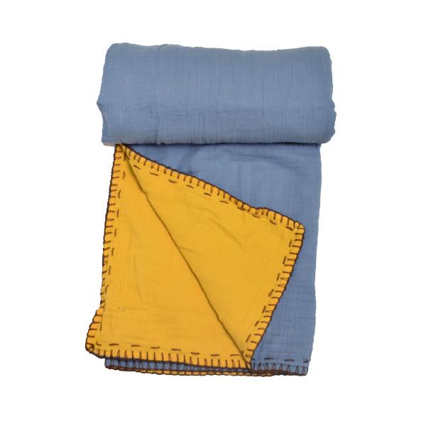 Κουβέρτα Μουσελίνα Αγκαλιάς 2 Όψεων Cigit Double Blue/Mustard
