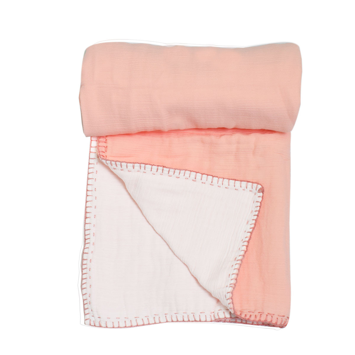 Κουβέρτα Μουσελίνα Αγκαλιάς 2 Όψεων Cigit Double Pink/White