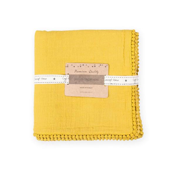 Κουβέρτα Μουσελίνα Αγκαλιάς Cigit Pon Pon Mustard Yellow