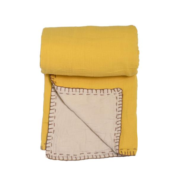 Κουβέρτα Μουσελίνα Αγκαλιάς 2 Όψεων Cigit Double Mustard/Ecru
