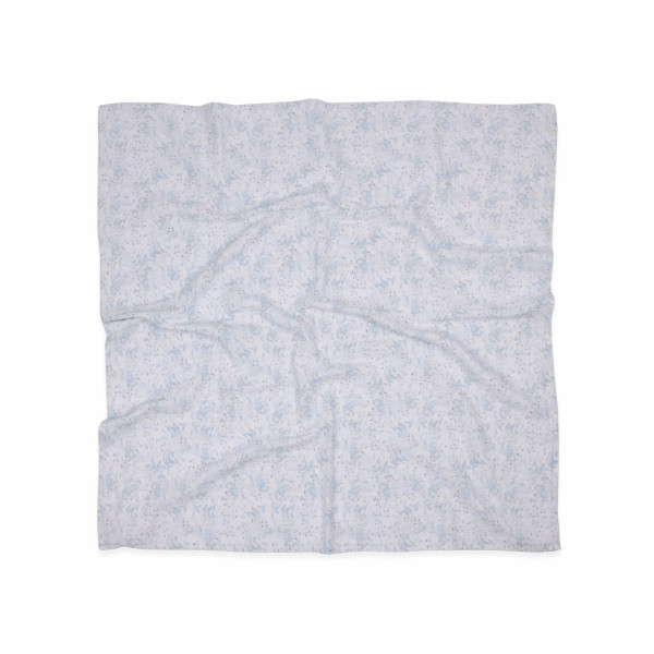 Κουβέρτα Μουσελίνα Αγκαλιάς Cigit Blue Grey Flowers