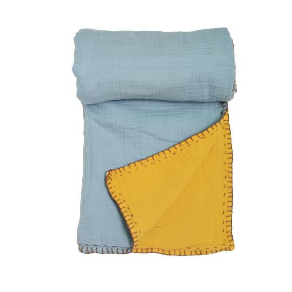 Κουβέρτα Μουσελίνα Αγκαλιάς 2 Όψεων Cigit Double Mint/Mustard