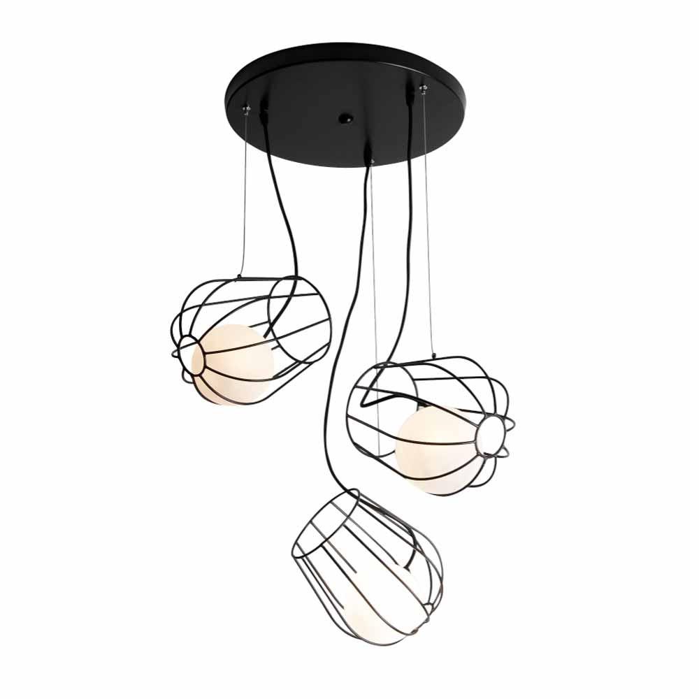 Φωτιστικό Οροφής Τρίφωτο Zambelis 1540 Black Matt
