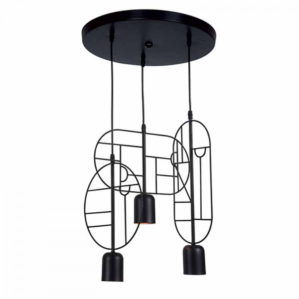 Φωτιστικό Οροφής Τρίφωτο Zambelis 17029 Black Matt