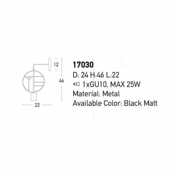 Απλίκα Τοίχου Zambelis 17030 Black Matt