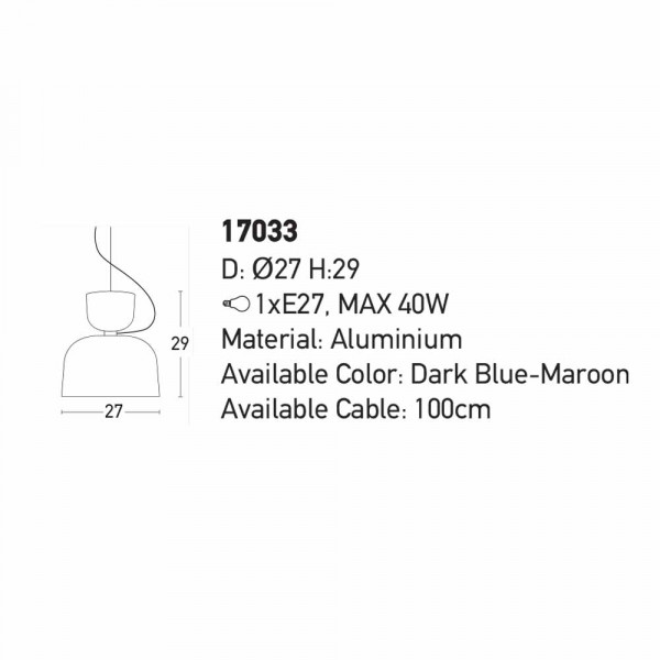 Φωτιστικό Οροφής Μονόφωτο Zambelis 17033 D.Blue/Maroon