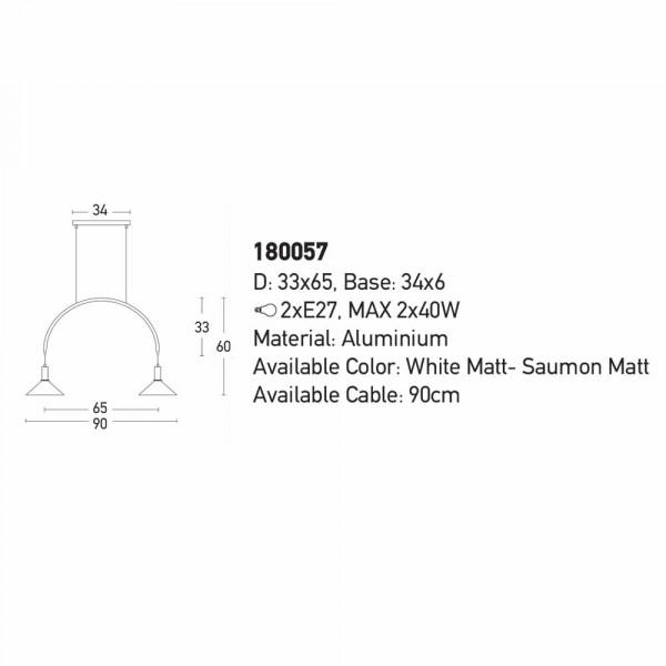Φωτιστικό Οροφής Δίφωτο Zambelis 180057 White Matt