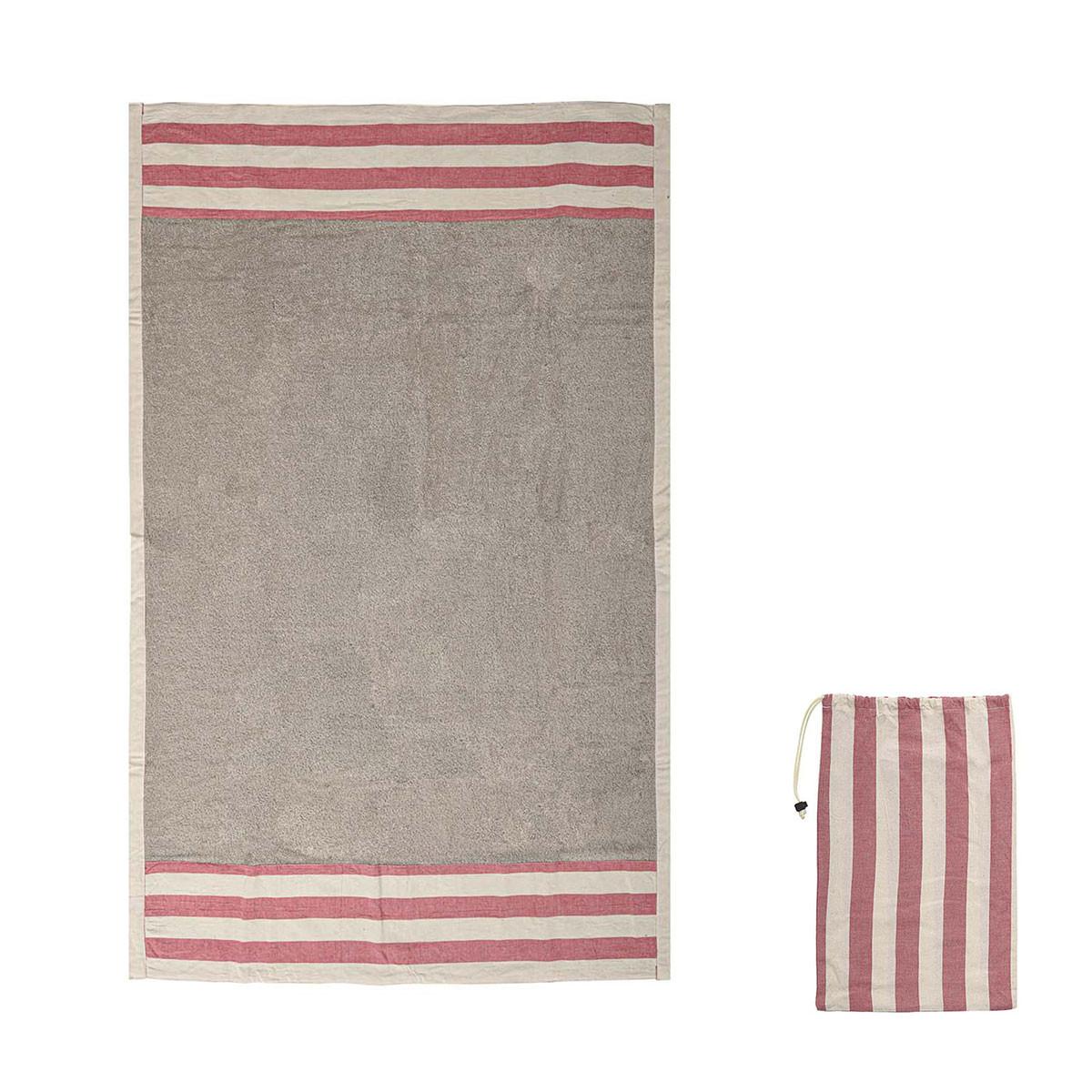 Πετσέτα Θαλάσσης White Fabric Red Stripe