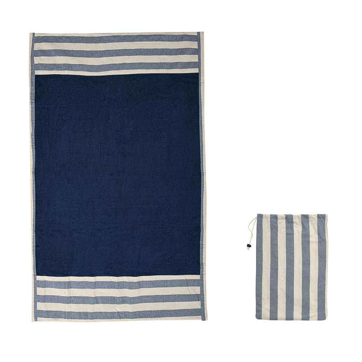 Πετσέτα Θαλάσσης White Fabric Blue Stripe