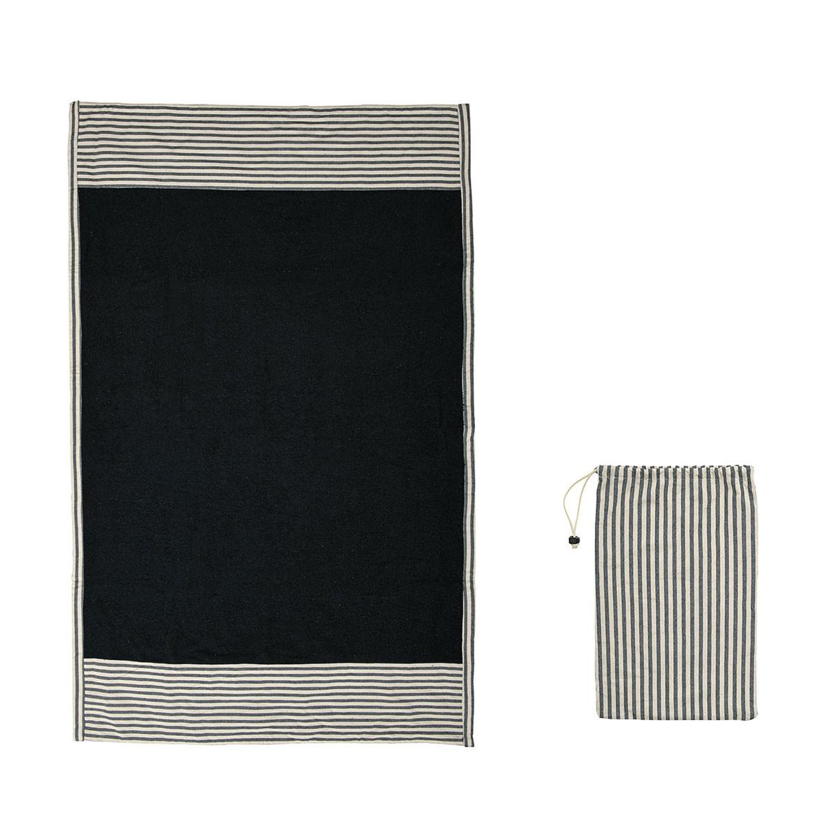 Πετσέτα Θαλάσσης White Fabric Black Stripe