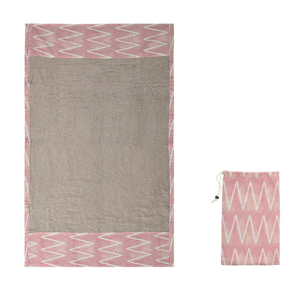 Πετσέτα Θαλάσσης White Fabric Pink Effect