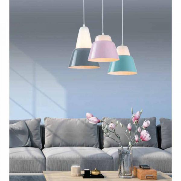 Φωτιστικό Οροφής Τρίφωτο Zambelis 180064 Grey/Pink/Petrol