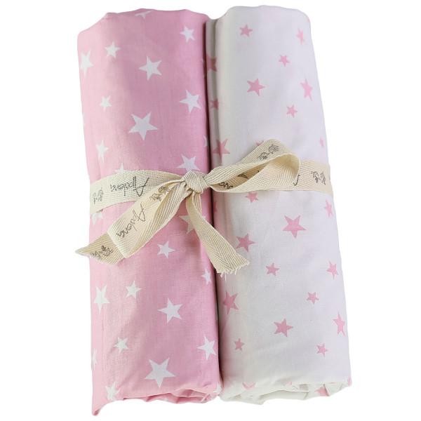 Σεντόνια Καλαθούνας (Σετ) Apolena Stars Pink 113-6943/5