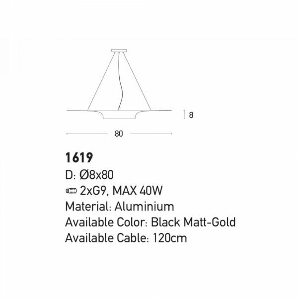 Φωτιστικό Οροφής Δίφωτο Zambelis 1619 Black Matt