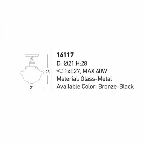 Φωτιστικό Οροφής Μονόφωτο Zambelis 16117 Black