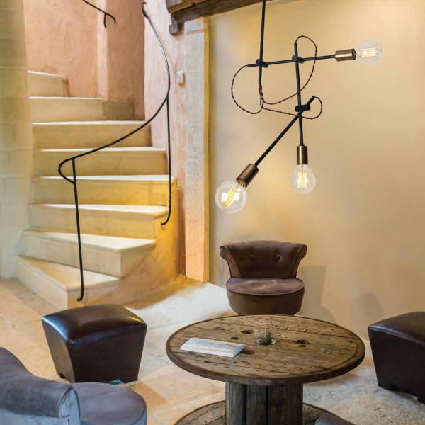 Φωτιστικό Οροφής Τρίφωτο Zambelis 1593 Black Matt