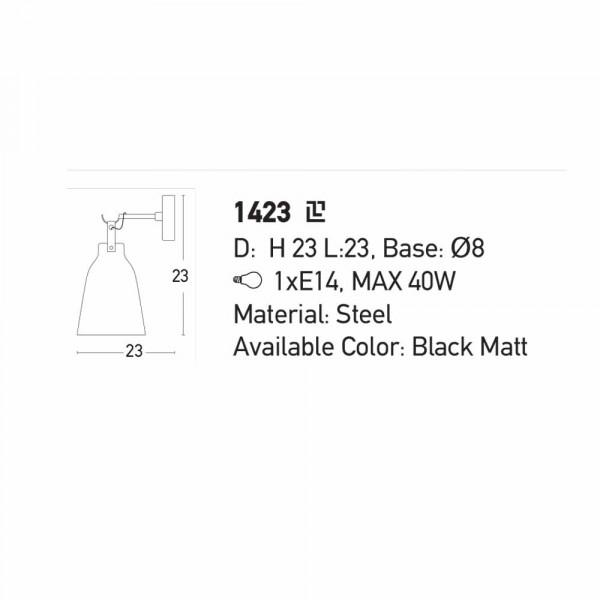 Απλίκα Τοίχου Zambelis 1423 Black Matt