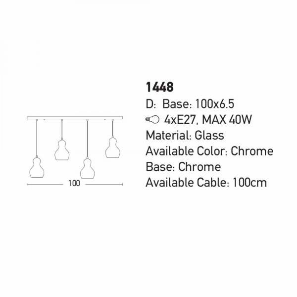 Φωτιστικό Οροφής Πολύφωτο Zambelis 1448 Chrome