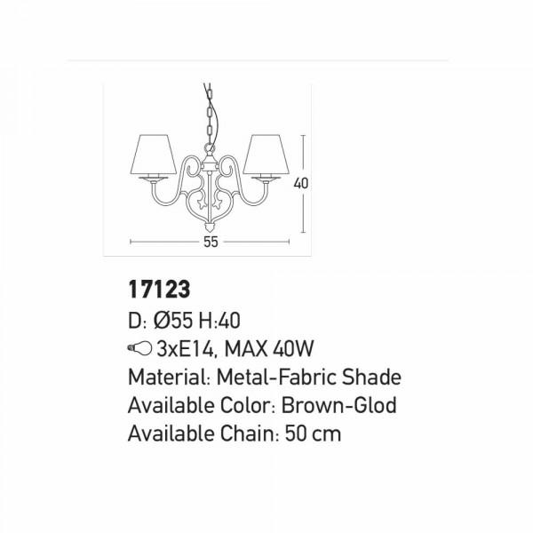 Φωτιστικό Οροφής Τρίφωτο Zambelis 17123 Brown