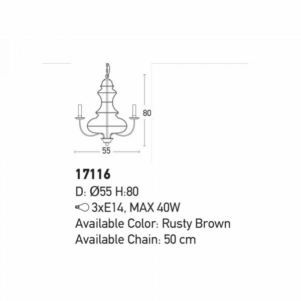 Φωτιστικό Οροφής Τρίφωτο Zambelis 17116 Brown
