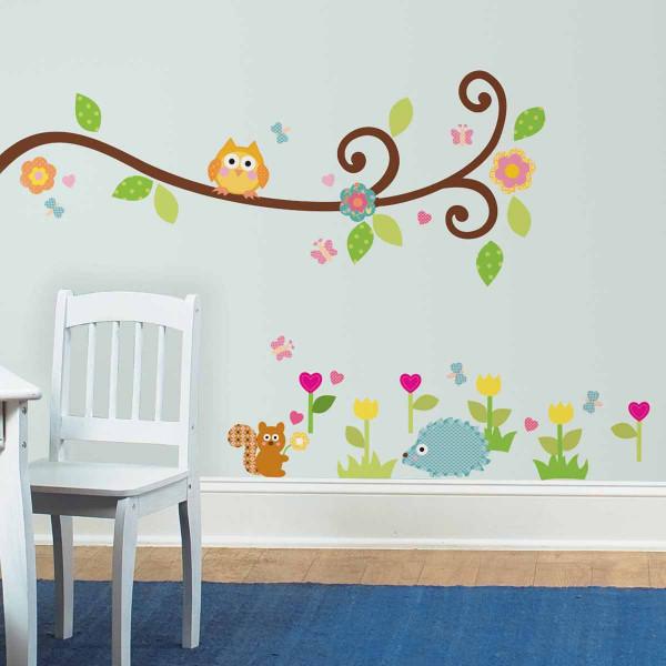 Παιδικά Αυτοκόλλητα Τοίχου RoomMates Κλαδί-Κουκουβάγια RΜΚ1861