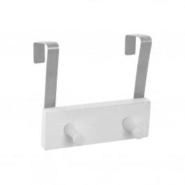 Κρεμάστρα Πόρτας 2 Θέσεων Metal + Wood White 6PTE125BC