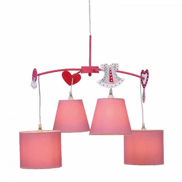 Παιδικό Φωτιστικό Οροφής Πολύφωτο Aca MD91044 Pink