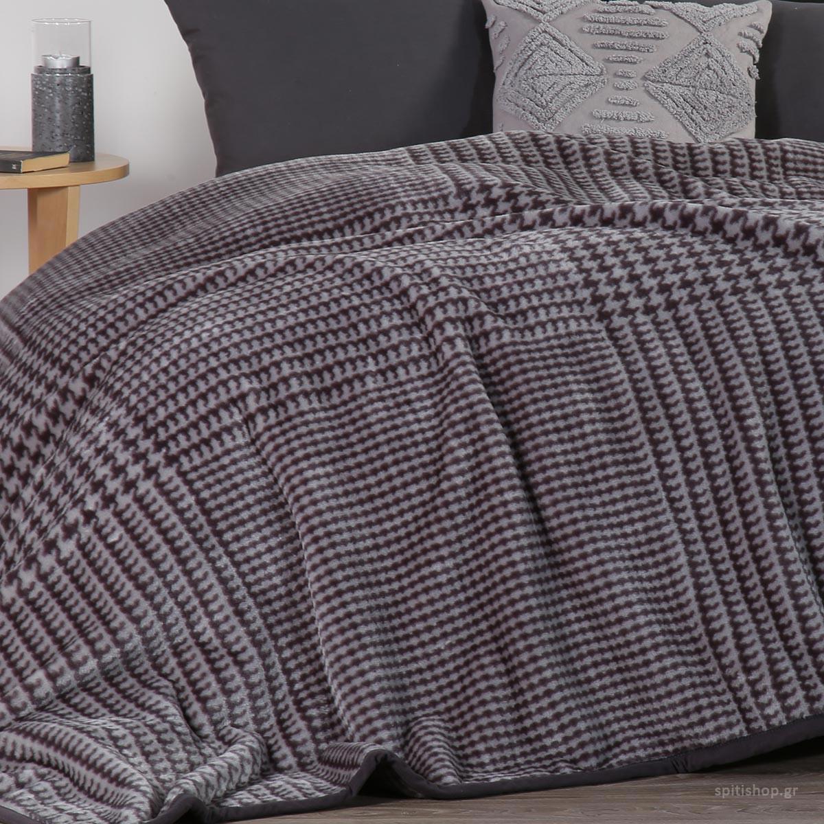 Κουβέρτα Βελουτέ Υπέρδιπλη Nef-Nef Rooster Grey