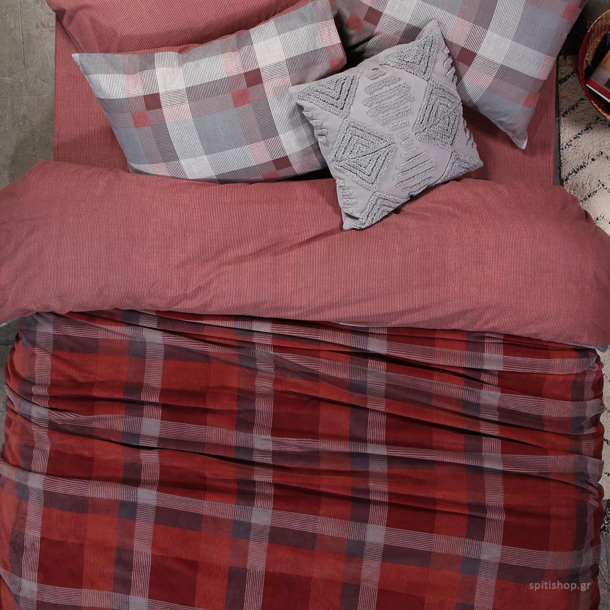 Κουβέρτα Fleece Μονή Nef-Nef Plade Bordo