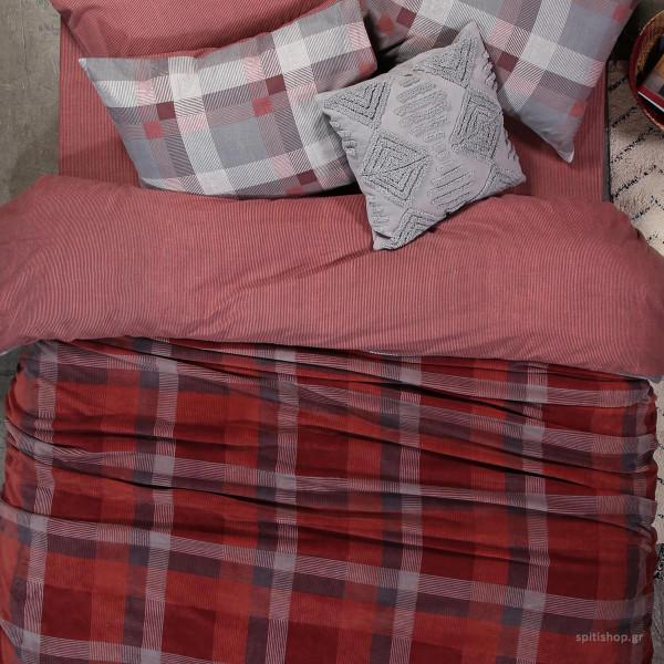 Κουβέρτα Fleece Υπέρδιπλη Nef-Nef Plade Bordo