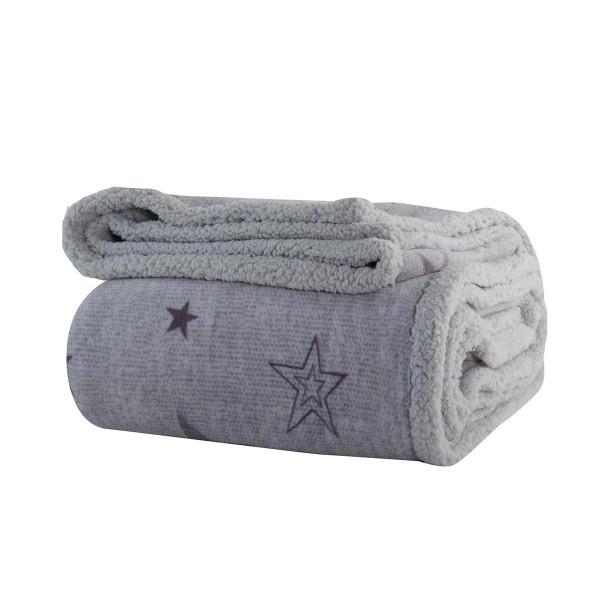 Κουβέρτα Fleece Μονή Με Γουνάκι Nef-Nef Astro Silver Grey