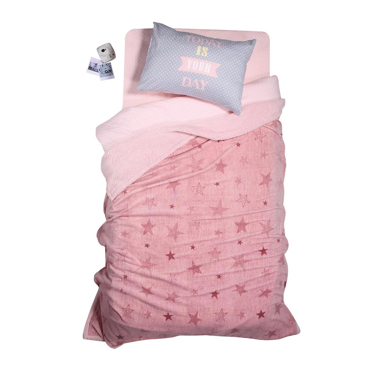 Κουβέρτα Fleece Μονή Με Γουνάκι Nef-Nef Astro Silver Pink