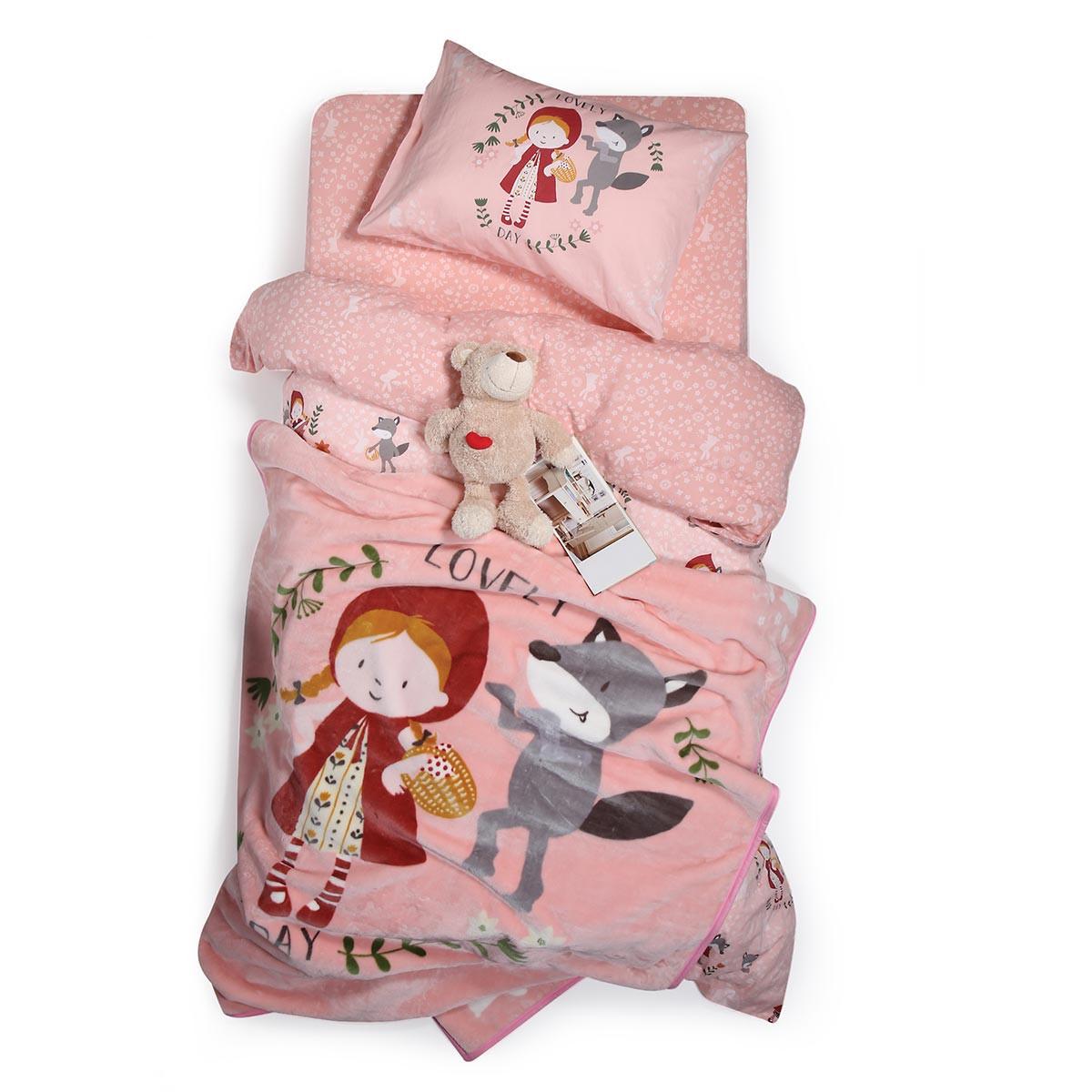 Κουβέρτα Βελουτέ Μονή Nef-Nef Red Riding Hood