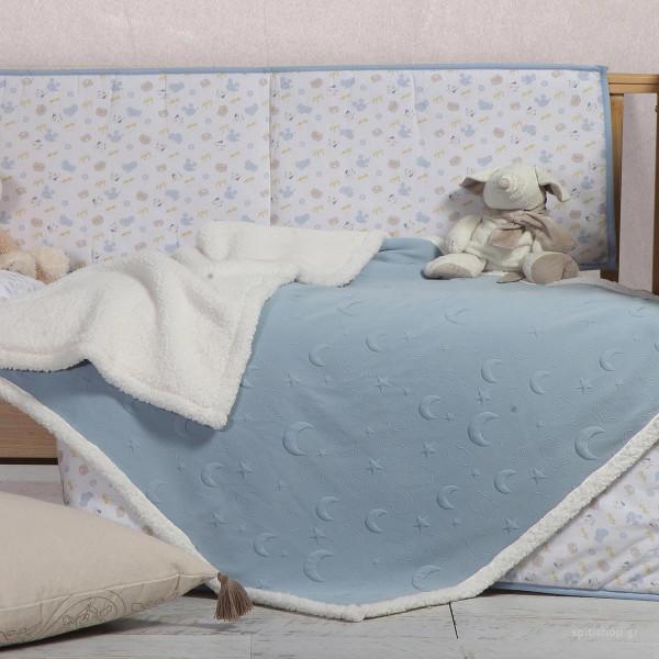 Κουβέρτα Πλεκτή Κούνιας Με Γουνάκι Nef-Nef Sky Above Blue