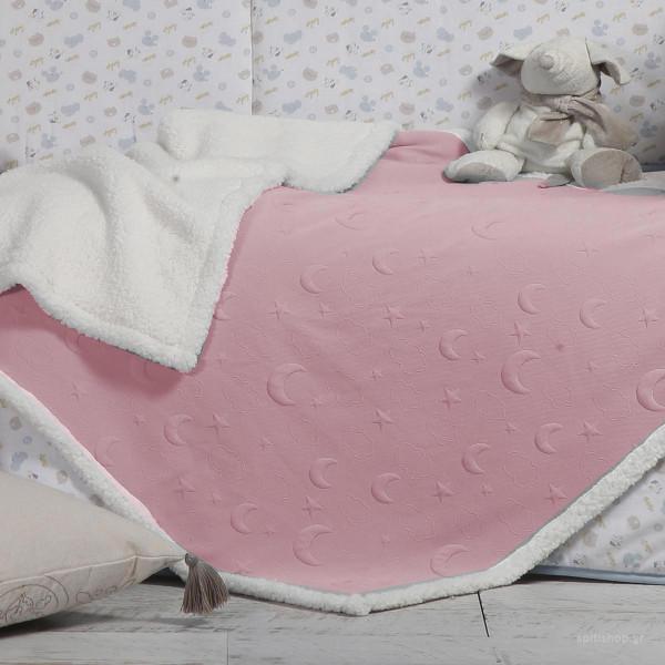 Κουβέρτα Πλεκτή Κούνιας Με Γουνάκι Nef-Nef Sky Above Pink