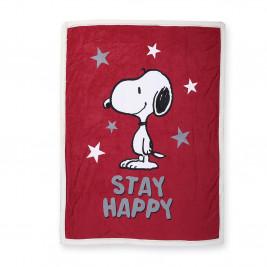 Χριστουγεννιάτικη Κουβέρτα Καναπέ Nef-Nef Snoopy Be Happy