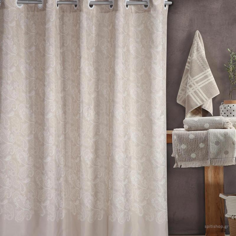 Κουρτίνα Μπάνιου (180x180) Nef-Nef Ledicia Beige