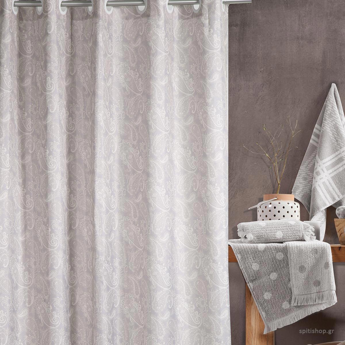 Κουρτίνα Μπάνιου (180×200) Nef-Nef Ledicia Grey
