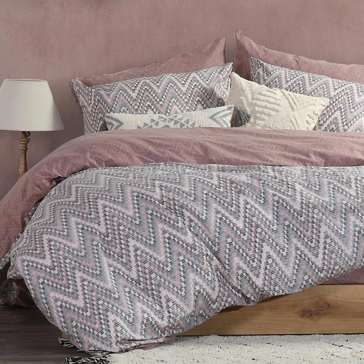 Παπλωματοθήκη Υπέρδιπλη (Σετ) Nef-Nef Smart Mozaik Pink