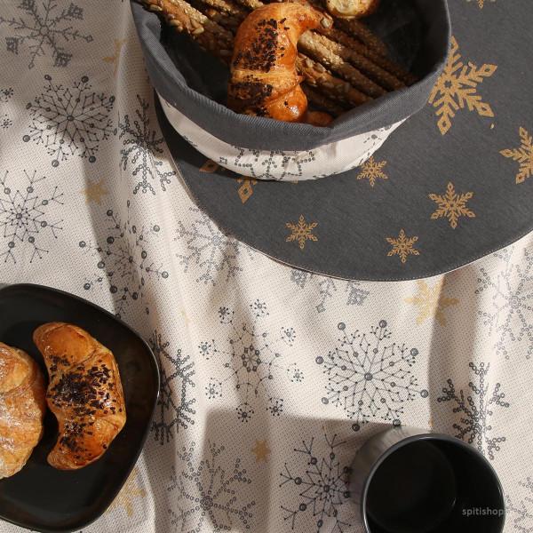 Χριστουγεννιάτικο Τραπεζομάντηλο (140x140) Nef-Nef Golden Snowflakes