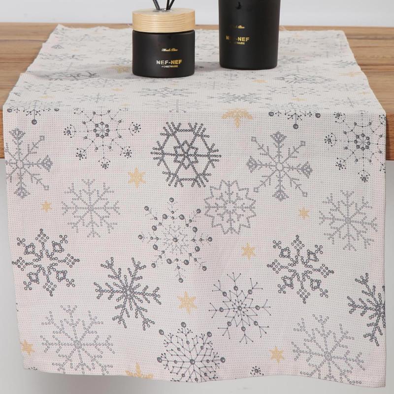 Χριστουγεννιάτικη Τραβέρσα Nef-Nef Golden Snowflakes