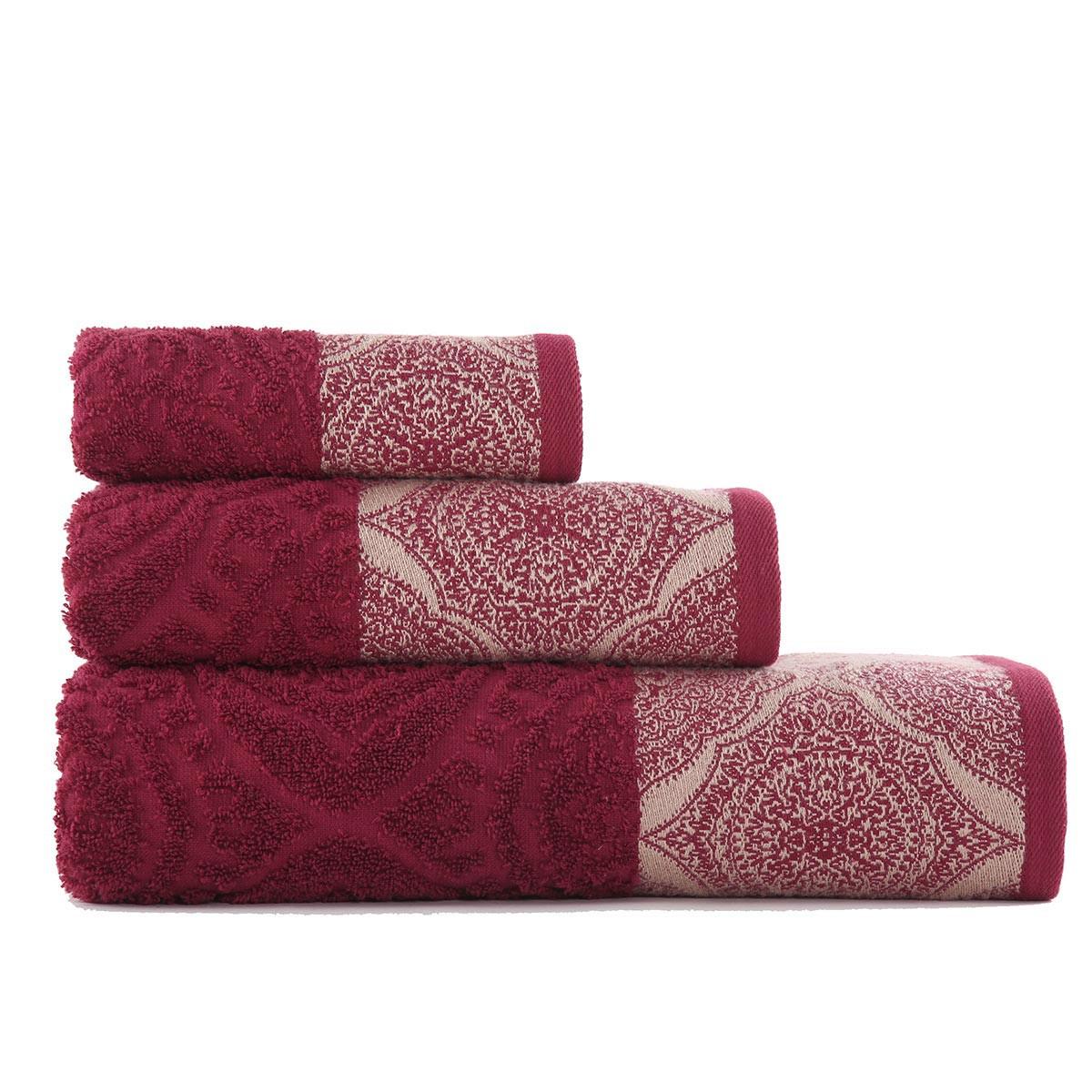 Πετσέτες Μπάνιου (Σετ 3τμχ) Nef-Nef Ava Bordo