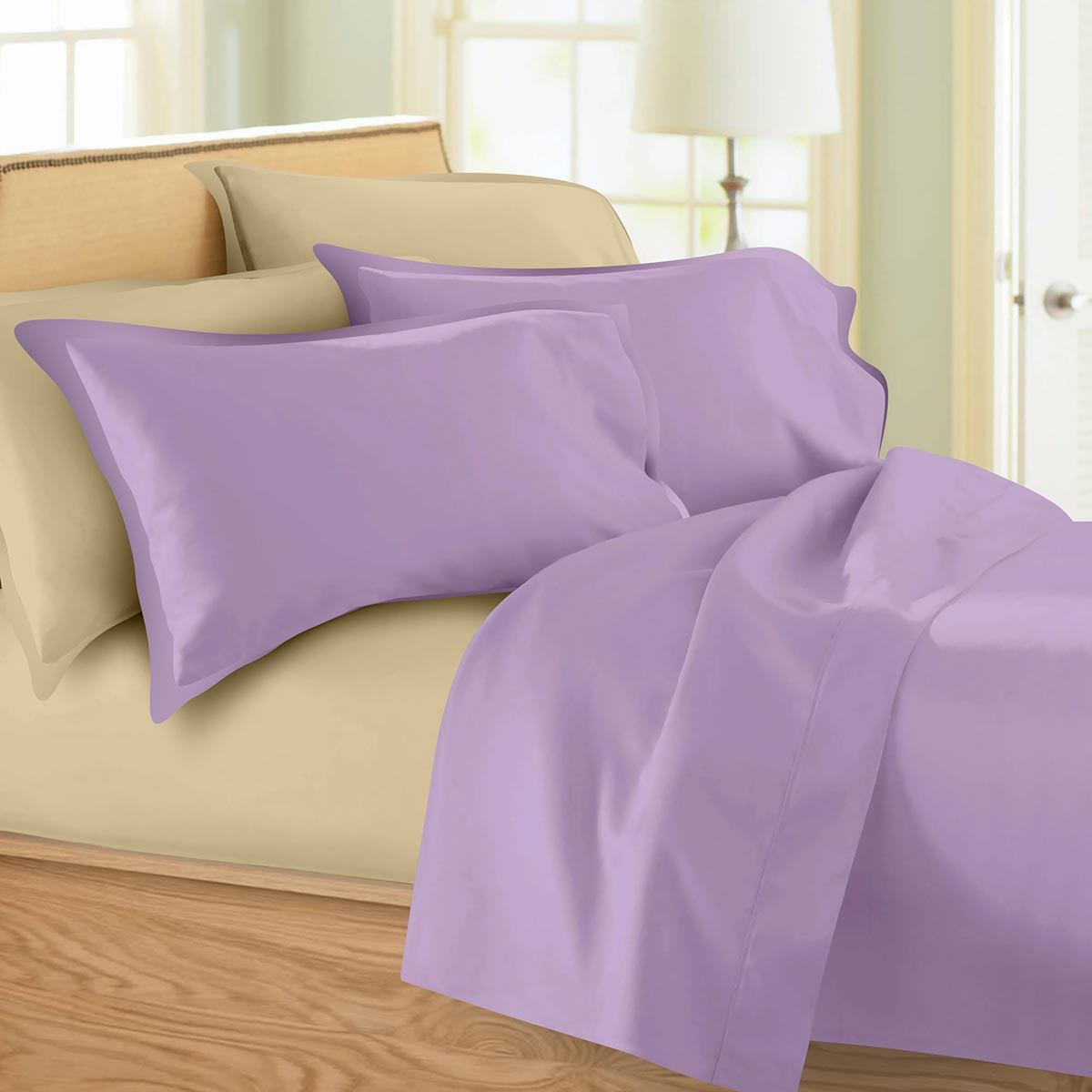 Σεντόνια Υπέρδιπλα (Σετ) Maison Blanche 62002 Lilac/Beige